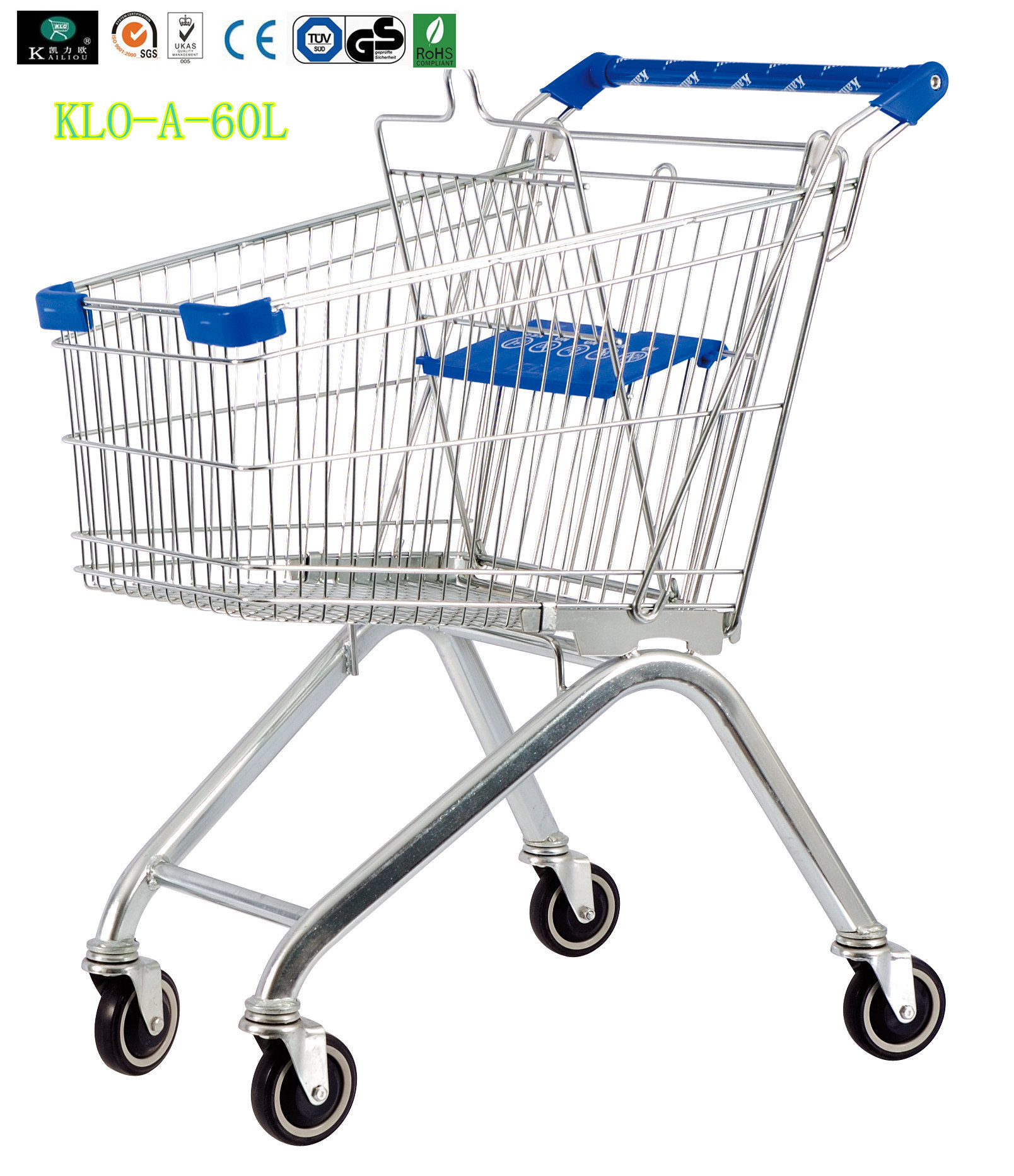 Small Portable Chrome Plated Steel Shopping Carts 60L / Supermarket Push Cart