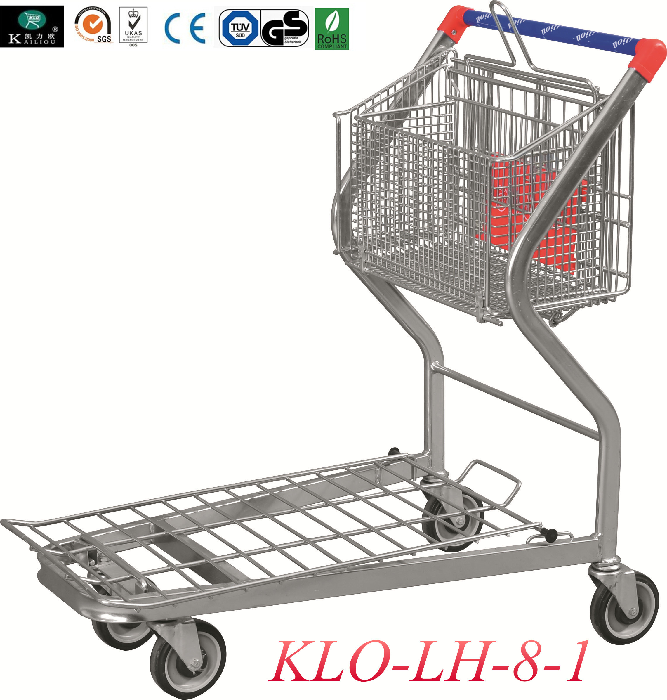 2 Tier Folding Warehouse Factory Cargo Trolley With 4 Swivel 5 Inch PU Wheels