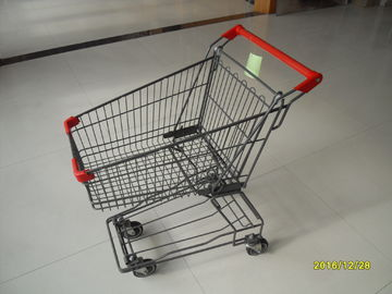 ประเทศจีน 4x4 Inch Wire Shopping Trolley With Customized Logo On Handle , Coin Lock โรงงาน