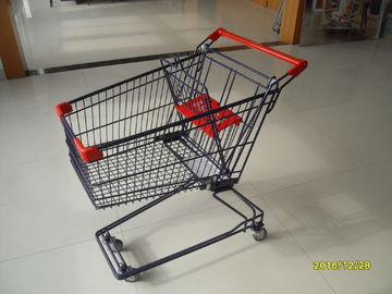 ประเทศจีน 75L Wire Shopping Trolley With Baby Safety Belt And Plastic Advertisement Board โรงงาน