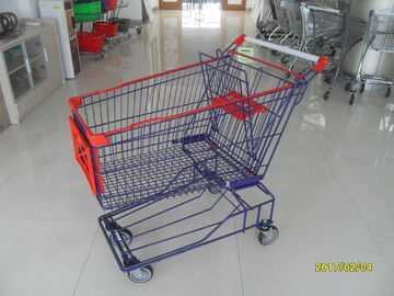 ประเทศจีน Customised 150L Wire Shopping Carts Asian Style With Low Tray And 4 Swivel Flat TPE Casters โรงงาน