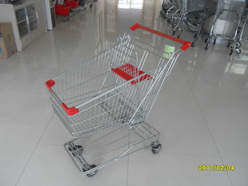 ประเทศจีน 17.51KGS Red Wire Shopping Trolley 80L With 4x4 Inch TPE Wheel Casters โรงงาน