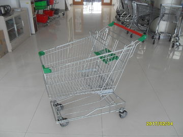 ประเทศจีน Multi - Color 125L Asian Wire Shopping Trolley With Button Low Tray And Handle Logo โรงงาน