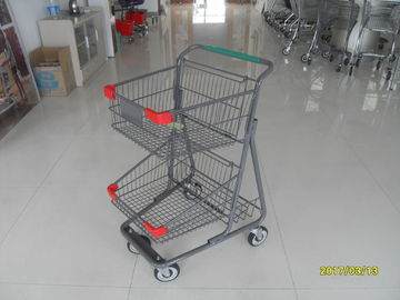 ประเทศจีน Two Layer Basket Wire 4 Wheel Shopping Trolley / Cart With Color Poweder Coating โรงงาน