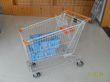 ประเทศจีน Asian Style 180L Supermaket Wire Shopping Cart Trolley With Normal plastic โรงงาน