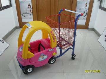 ประเทศจีน 95L Low Carbon Steel / Plastic Children Shopping Cart With Red Powder Coating โรงงาน