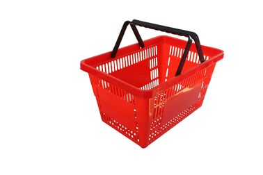 Supermarket Retail Plastic Shopping Basket Red / Hand Held Shopping Baskets