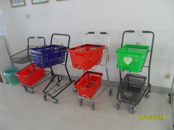 Reusable 2 Basket Shopping Trolley For Small Shop , 4 Swivel 3 Inch Pvc Casters